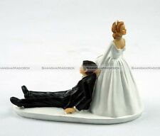 Humor Marriage Funny Polyresin Figurine Wedding Cake Toppers Bride Groom Decor