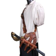 RENAISSANCE MUSKETEER PIRATE Black Brown Leather BALDRIC CUTLASS SWORD HOLDER