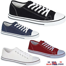 MENS BOYS FLAT LACE UP CANVAS TRAINERS BLACK NAVY WHITE PLIMSOLLS PUMPS SHOES
