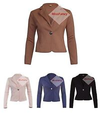 Womens Blazers One Button Blazer Short Jacket Long Sleeve Cardigan Top