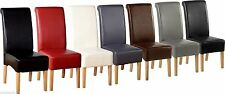 2x High Quality Leather Dining Chairs Scrollback Roll Top Solid Oak - 7 Colours