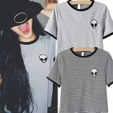 Street Solid / Striped Embroidery ET Aliens Casual Short Tee Tops Blouse T-shirt