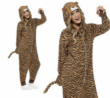 Tiger Costume Adults Wild Animal Onesie Fancy Dress Outfit Mens Ladies