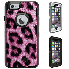 CUSTOM OtterBox Defender for iPhone 6 6S PLUS Pink Black Leopard Fur Skin