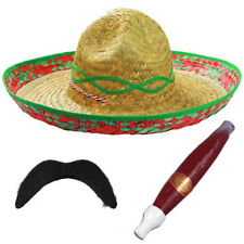 GREEN MEXICAN SOMBRERO STRAW HAT ADD MOUSTACHE CIGAR BANDIT FANCY DRESS COSTUME
