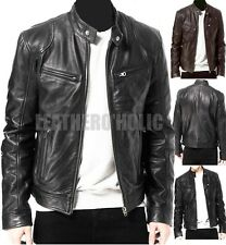 MENS BLACK & BROWN REAL LEATHER JACKET RETRO SLIM FIT GENUINE NEW XS-3XL VINTAGE