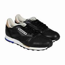 Reebok Classic Leather Casual Mens Black Grey Leather Lace Up Sneakers Shoes