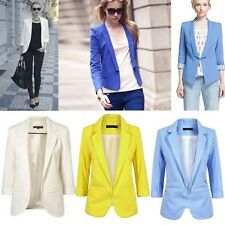 New Slim Design Womens Candy Color Blazer Office Lady Solid Tops Coat Jacket M98