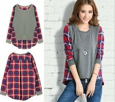 Fashion Women Ladies Long Sleeve  Plaid Checked Casual Loose T shirt Tops Blouse