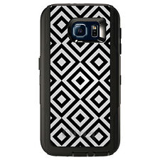 CUSTOM OtterBox Defender Case for Galaxy S5 S6 S7 Black Grey Diamond Pattern