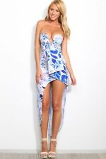 NWT Angel Biba White Blue Floral Strapless Cocktail Maxi Dress 8 10 - SALE!