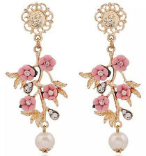 1Pair Retro Resin Flower Pearl Drop Dangle Ear Stud Earrings Gold Plated Jewelry