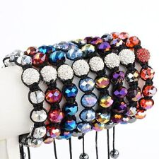 1pc Crystal Glass Disco Ball Hip Hop Glass Hematite Beads Charm Bracelet Bangle