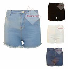 Womens Denim Shorts Frayed High Waist SHorts Hotpants