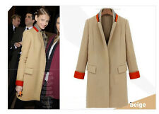 Womens Korean Long Slim Woolen Jacket Coat Fit Spell Color Casual Suit Outwear