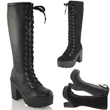 LADIES KNEE HIGH CHUNKY CLEATED PLATFORM WOMENS GOTH COMBAT LACE UP BOOTS SIZE