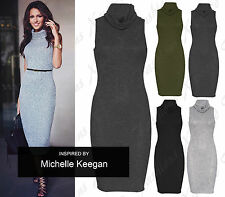 New Ladies Women's Knitted Sleeveless Cowl Neck Long Top Dress Plus Sizes 8-22
