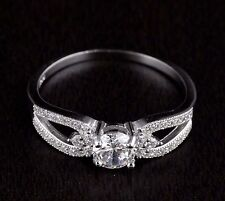 Womens Solid 925 Sterling Silver CZ Solitaire Engagement Wedding Band Ring