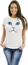 Cat T Shirt Fluffy White Kitty Big Blue Eyes Pink Nose Womens Size Small to 3XL