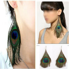 Unique Pretty Lady Peacock Feather Earrings Dangle Style Studs Earrings