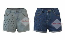 Womens Denim Shorts Blue Denim Shorts Star Studded Rivetted Hotpants