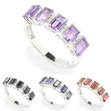 Sterling Silver 1 2/5ct Emerald-cut Gemstone and White Zircon Ring
