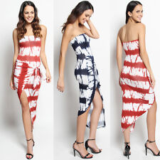 TheMogan Strapless Tie Dye Striped Knotted Front Hi-Low Dress