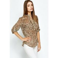 LADIES ZARA ANIMAL PRINT BLOUSE TOP SHIRT LEOPARD COTTON CHIFFON SIZE 8 to 16