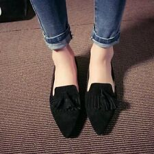 Womens Flats Retro Pointed Toe Oxfords Loafers Moccasins Faux Suede Shoes Free