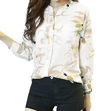 Ladies Stand Collar Long Sleeve Floral Prints Single Breasted Casual Shirt