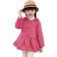 Girls Long Sleeve Hooded Peplum Slim Fit Worsted Coat