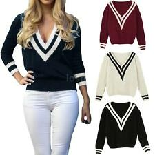 Women's Cable Knitted Long Sleeve Baggy Cricket Jumper V Neck Pullover Sweater