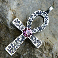Ankh Cross of life Celtic Acrylic Crystal Pink Tourmaline October pewter pendant