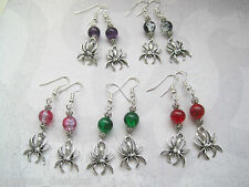 SPIDER CHARM Crackle Bead SP Drop Earrings HALLOWEEN Purple Red Green Black Teal