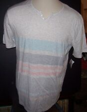 NEW VOLCOM gray blue orange stripe Henley short sleeve button shirt  sz XL