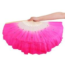 Handmade Folding Cloth Bamboo Chinese Art Belly Dance Dancing Fan Veil Costume