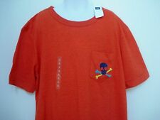 GAP KIDS Boys Orange EMBRIODERED SKULL Pocket T-Shirt Size XL,XXL NWT