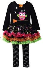 Bonnie Jean Halloween Girls Black Pettiskirt Set Witch Owl Broom Tunic Pants Set