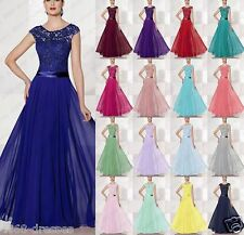 Long Lace Formal Chiffon Ball Gown Party Prom Bridesmaid Evening Dress Size 6-18