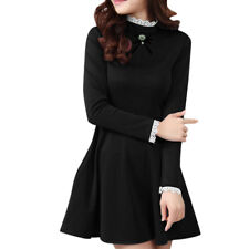 Women Stand Collar Long Sleeves Slim Fit Mini A Line Dress w Brooch