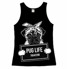 Pug Life Ladies Vest Top Dog love Funny Mugshot Puppy