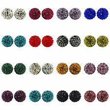 10pcs 10mm CZ Crystal Paved Clay Disco Ball Beads for DIY Bracelets Findings