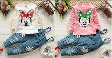 2pcs Toddler Infant Girls cotton tops+ pants rompers Kids autumn clothing bownot