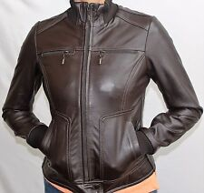 women's Jackets AandBLeather BOMBER JACKET Ribbed Cuffs and Collar CHOCOLATE