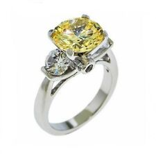3CTW Yellow Canary Center Cubic Zirconia and Clear CZ Sides Rhodium Plated Ring
