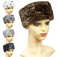 LADIES WOMENS WARM FURRY FAUX FUR HAT COSSACK RUSSIAN ANIMAL WINTER CAP FASHION