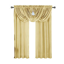"Soho Faux Silk Ivory 42"" Width, 100% Polyester Waterfall Window Curtain Panels"