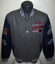 New England PATRIOTS 4 TIME SUPER BOWL Championship Wool Leather Jacket S M L XL