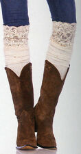 Leg Avenue 6916 Ribbed Knit Over Knee Slouch Boot Socks Confetti One Size Ivory