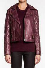 Rebecca Minkoff Women Wolf Jacket PLUM Leather Motorcycle NEW Burgundy